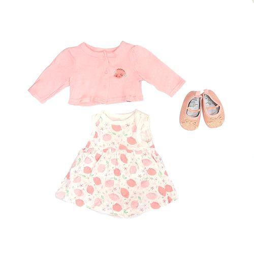 3pcs conjunto sueter vestido blanco y salmón y zapatos para bebé niña