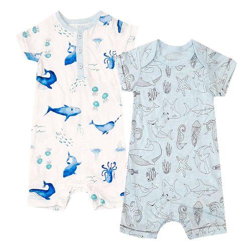 2pk rompers celeste y blanco de ballenas para niño bebé