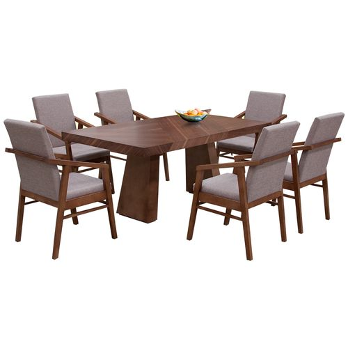 Comedor 6 personas rectangular  nogal