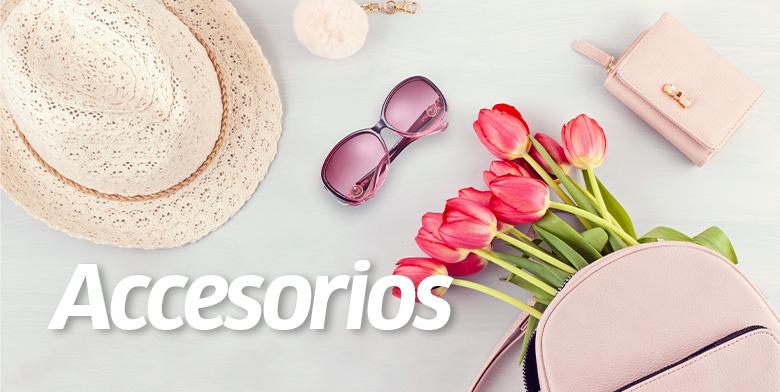 Accesorios, sombrero, lentes carteras con tulipanes
