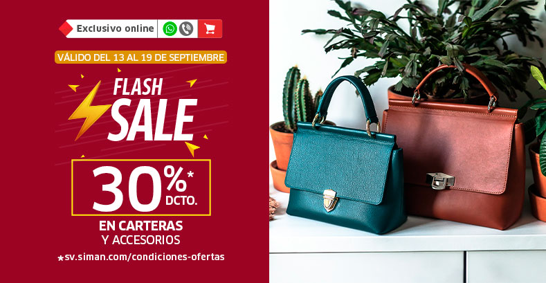 Flash Sale 30% Accesorios