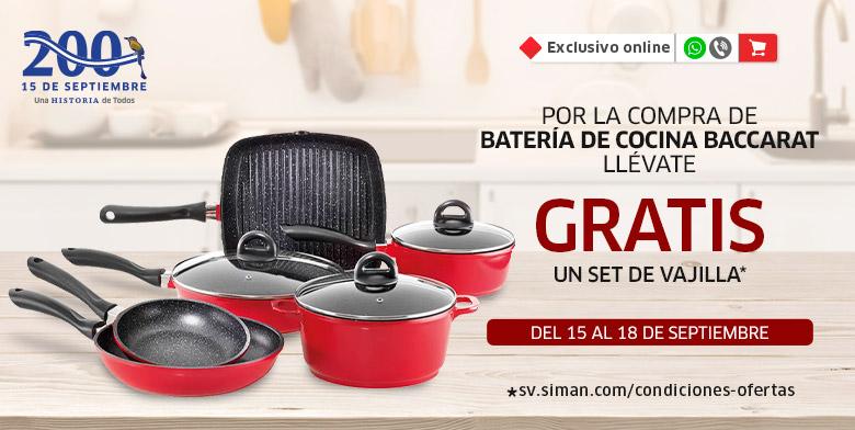 Vajilla GRATIS por compra de batería de cocina